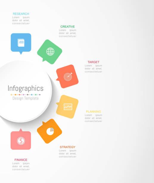 stockillustraties, clipart, cartoons en iconen met infographic designelementen voor uw bedrijfsgegevens met 6 opties, onderdelen, stappen, tijdlijnen of processen. cirkel rond concept, vectorillustratie. - 6 7 jaar