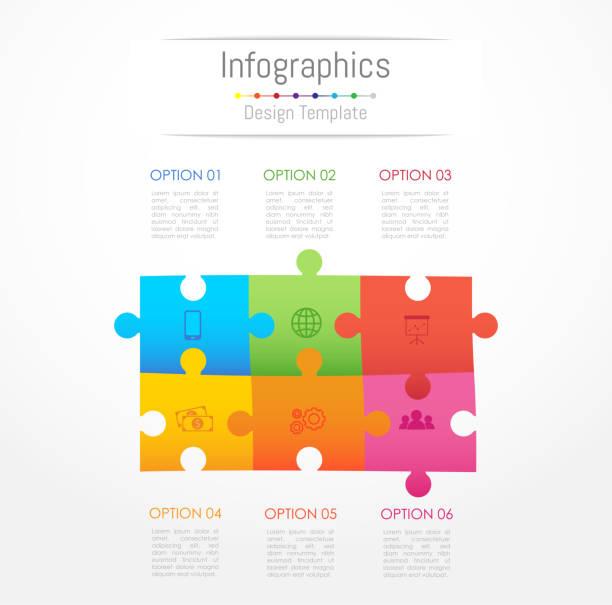 stockillustraties, clipart, cartoons en iconen met infographic designelementen voor uw bedrijfsgegevens met 6 opties, onderdelen, stappen, tijdlijnen of processen. jigsaw puzzle concept, vectorillustratie. - 6 7 jaar