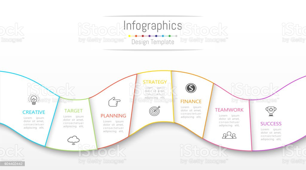Infographic design elements for your business data with 7 options, parts, steps, timelines or processes. Vector Illustration. vector art illustration