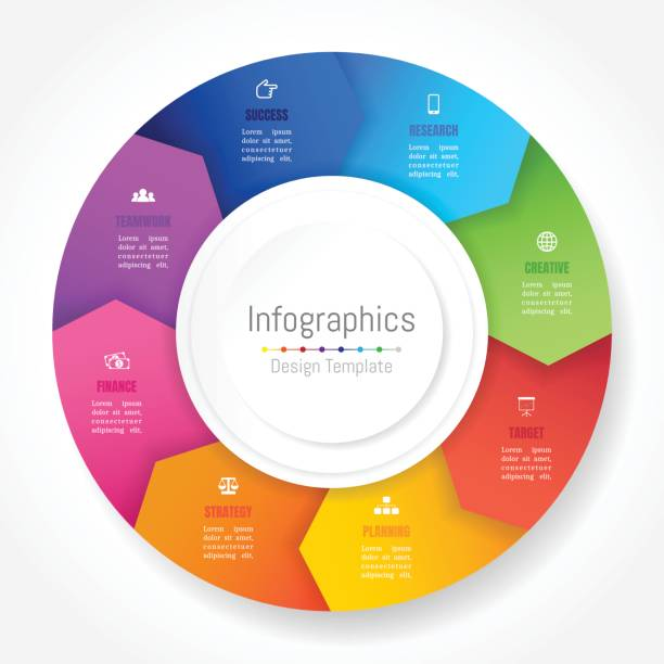 Infographic design elements for your business data with 8 options, parts, steps, timelines or processes, Arrow wheel circle style. Vector Illustration. Infographic design elements for your business data with 8 options, parts, steps, timelines or processes, Arrow wheel circle style. Vector Illustration. 8 9 years stock illustrations