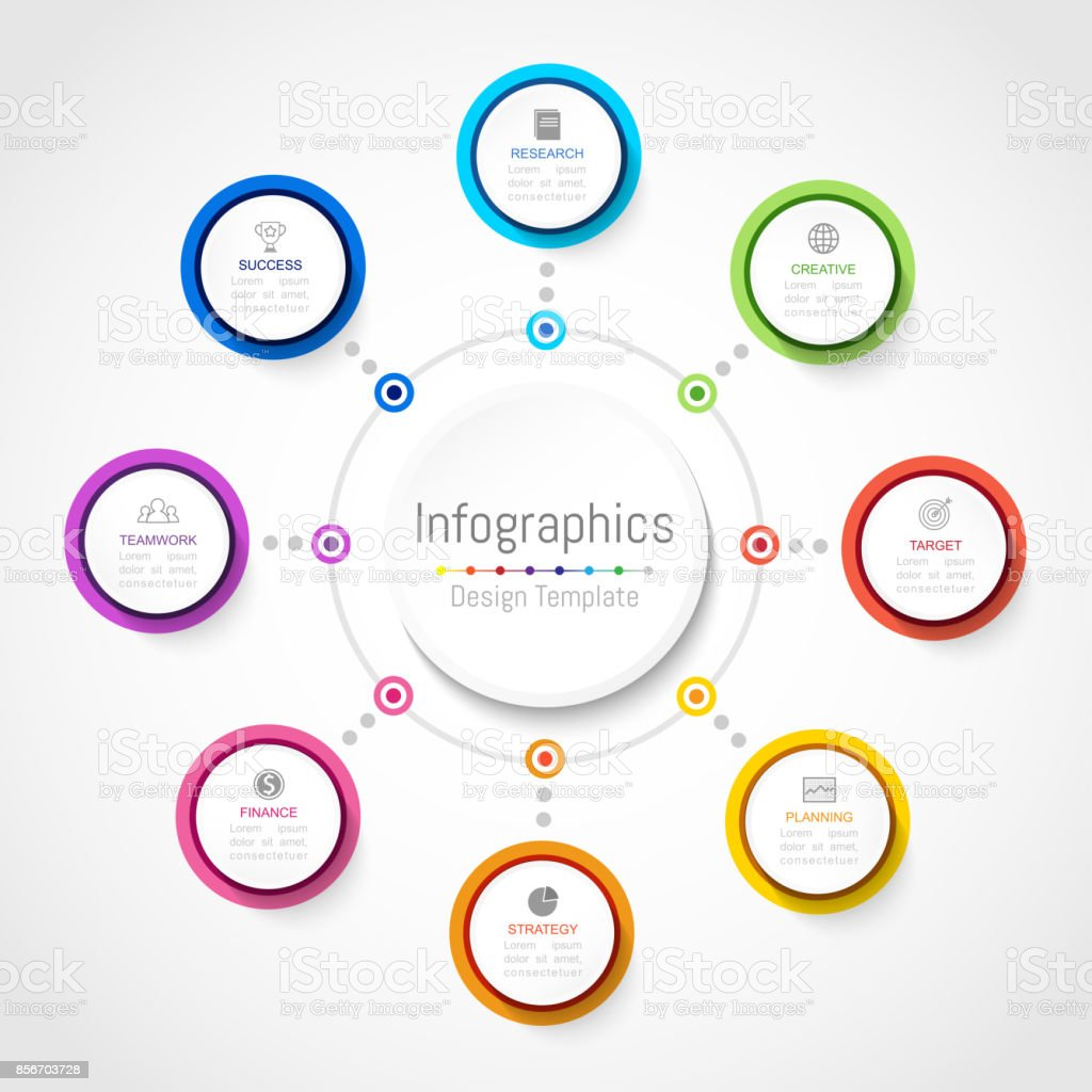 Infographic design elements for your business data with 8 options, parts, steps, timelines or processes, Circle round concept. Vector Illustration. royalty-free infographic design elements for your business data with 8 options parts steps timelines or processes circle round concept vector illustration stock illustration - download image now