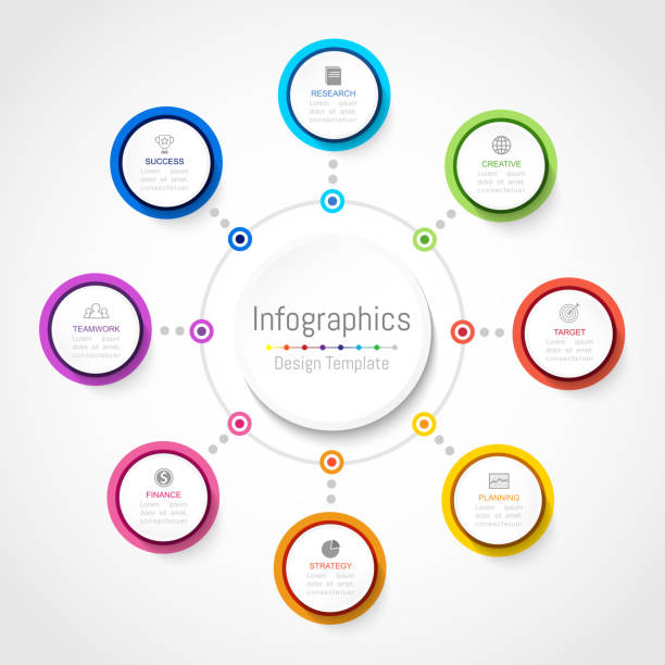 Infographic design elements for your business data with 8 options, parts, steps, timelines or processes, Circle round concept. Vector Illustration. Infographic design elements for your business data with 8 options, parts, steps, timelines or processes, Circle round concept. Vector Illustration. 8 9 years stock illustrations