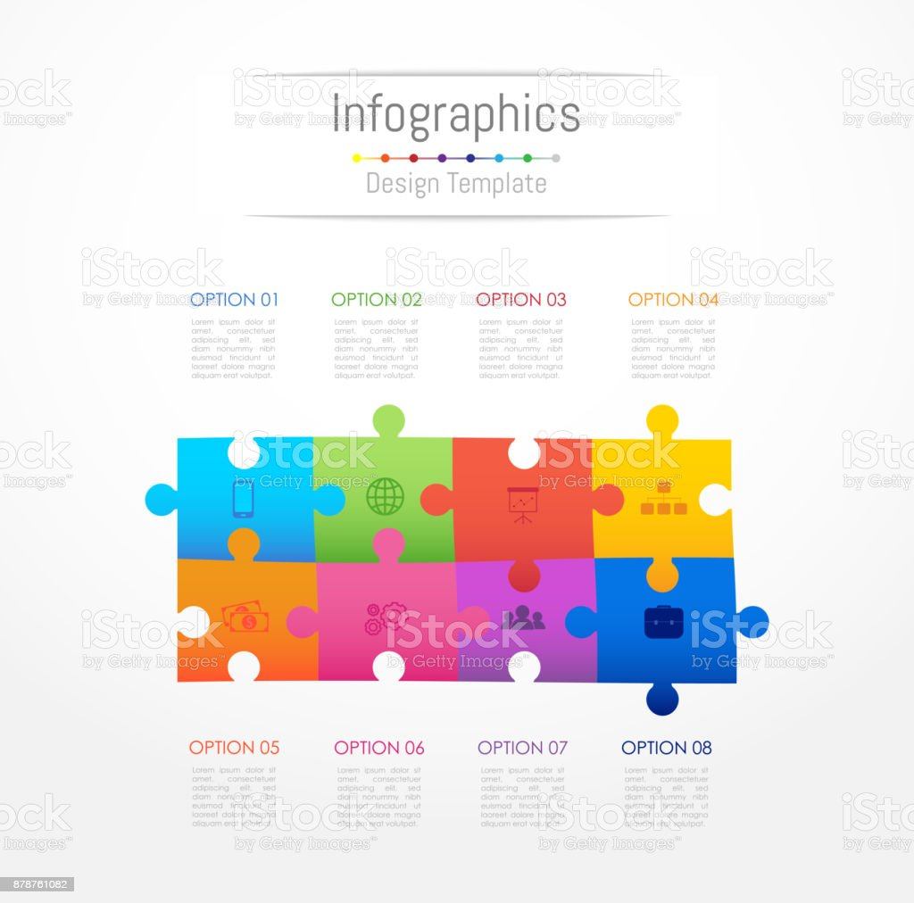 Infographic design elements for your business data with 8 options, parts, steps, timelines or processes. Jigsaw puzzle concept, Vector Illustration. royalty-free infographic design elements for your business data with 8 options parts steps timelines or processes jigsaw puzzle concept vector illustration stock illustration - download image now