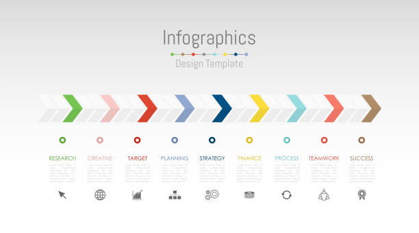 infographic design elements for your business data with 9 options, parts, steps, timelines or processes. vector illustration. - timeline stock illustrations