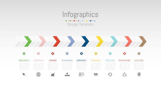 infographic 9 옵션, 부품, 단계, 일정 또는 프로세스와 비즈니스 데이터에 대 한 디자인 요소입니다. 벡터 일러스트입니다. - timeline stock illustrations