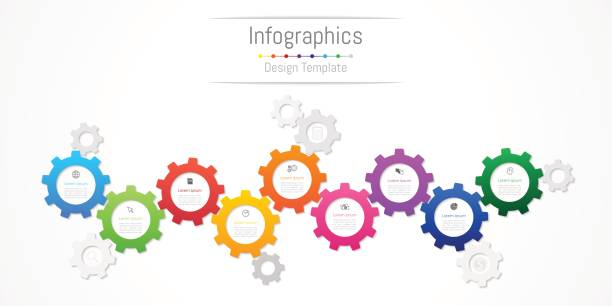 Infographic design elements for your business data with 9 options, parts, steps, timelines or processes. Gear wheel concept, Vector Illustration. Infographic design elements for your business data with 9 options, parts, steps, timelines or processes. Gear wheel concept, Vector Illustration. 8 9 years stock illustrations