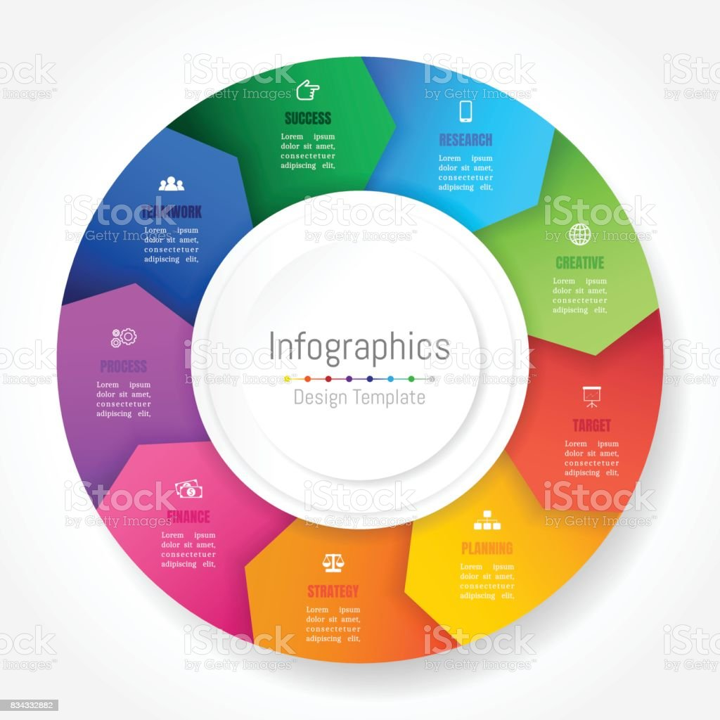 Infographic design elements for your business data with 9 options, parts, steps, timelines or processes, Arrow wheel circle style. Vector Illustration. royalty-free infographic design elements for your business data with 9 options parts steps timelines or processes arrow wheel circle style vector illustration stock illustration - download image now