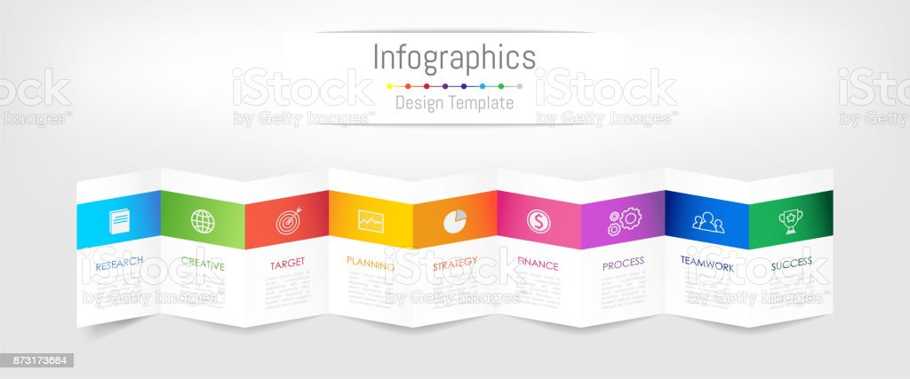 Infographic design elements for your business data with 9 options, parts, steps, timelines or processes. Brochure paper concept, Vector Illustration. royalty-free infographic design elements for your business data with 9 options parts steps timelines or processes brochure paper concept vector illustration stock illustration - download image now