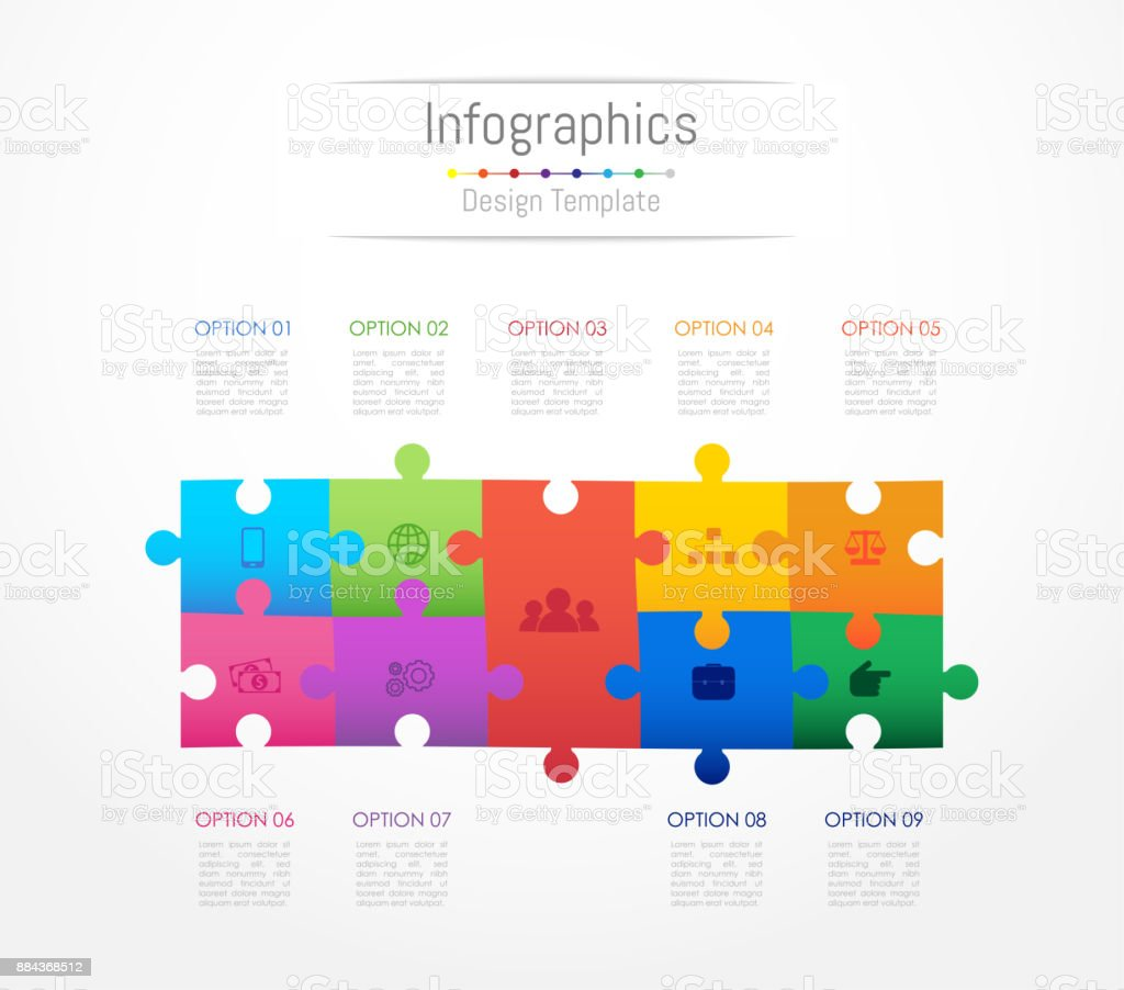 Infographic design elements for your business data with 9 options, parts, steps, timelines or processes. Jigsaw puzzle concept, Vector Illustration. royalty-free infographic design elements for your business data with 9 options parts steps timelines or processes jigsaw puzzle concept vector illustration stock illustration - download image now
