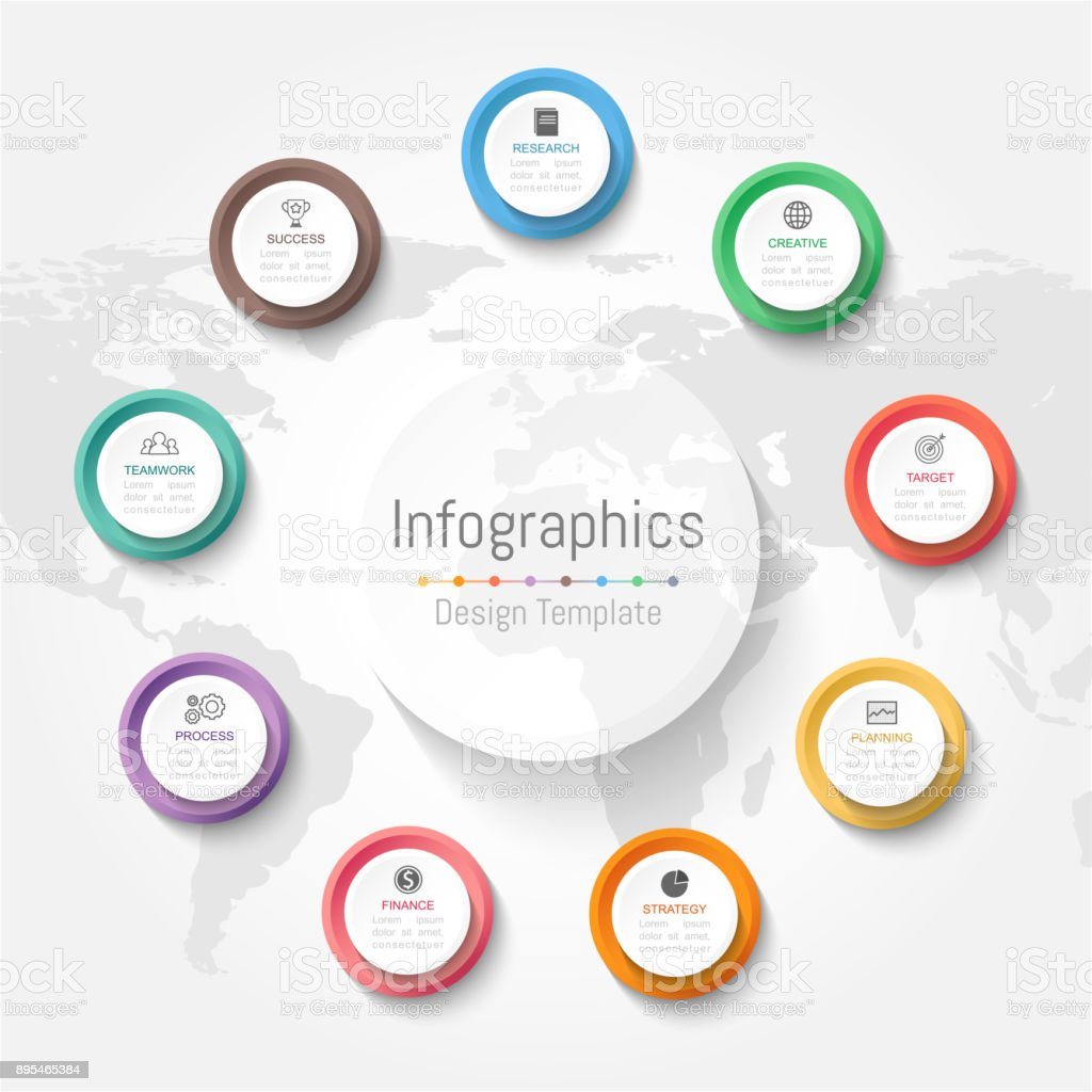 Infographic design elements for your business data with 9 options, parts, steps, timelines or processes. Vector Illustration. World map of this image furnished by NASA royalty-free infographic design elements for your business data with 9 options parts steps timelines or processes vector illustration world map of this image furnished by nasa stock illustration - download image now
