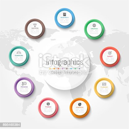 istock Infographic design elements for your business data with 9 options, parts, steps, timelines or processes. Vector Illustration. World map of this image furnished by NASA 895465384