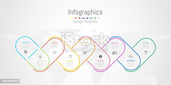istock Infographic design elements for your business data with 9 options, parts, steps, timelines or processes. World map of this image furnished by NASA, Vector Illustration. 955890892