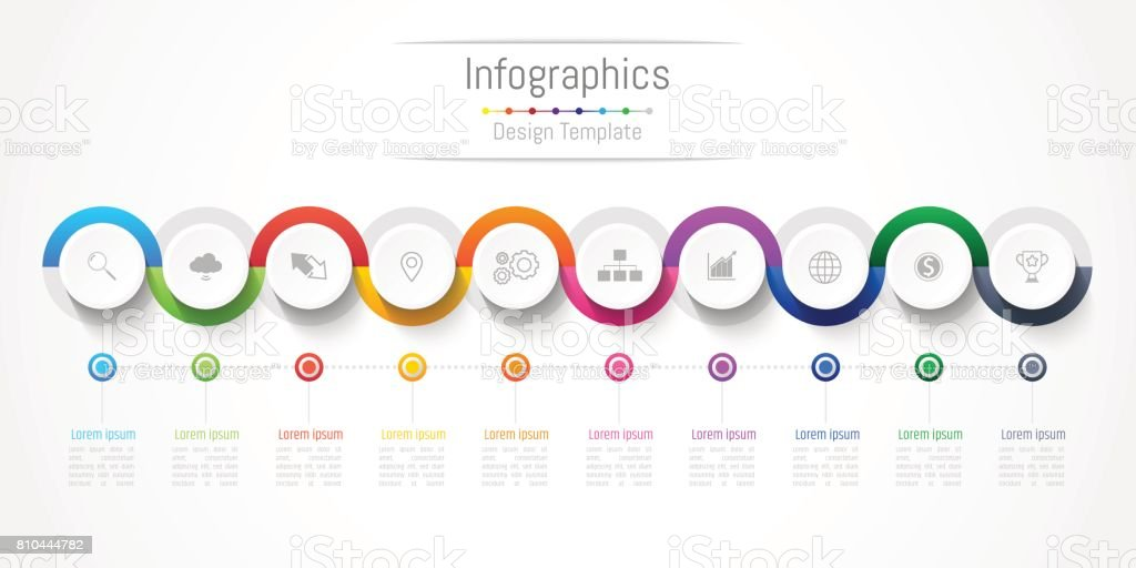 Infographic design elements for your business with 10 options, parts, steps or processes, Vector Illustration. vector art illustration