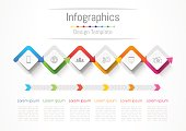 Infographic design elements for your business with 6 options, parts, steps or processes, Vector Illustration.