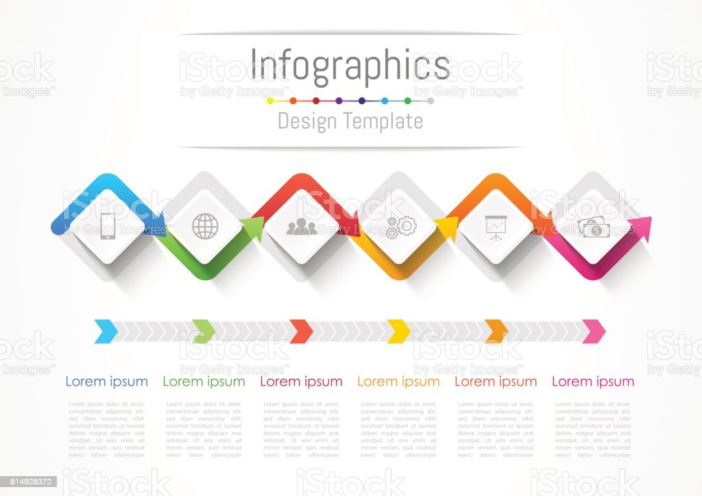 Infographic design elements for your business with 6 options, parts, steps or processes, Vector Illustration. vector art illustration