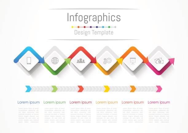 stockillustraties, clipart, cartoons en iconen met infographic designelementen voor uw bedrijf met 6 opties, onderdelen, stappen of processen, vectorillustratie. - 6 7 jaar
