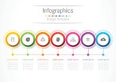Infographic design elements for your business with 7 options, parts, steps or processes, Vector Illustration.