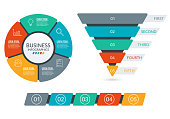 Infographic design elements with circle diagram, Sales and marketing funnel or Business pyramid, Timeline infographics with 5 steps option or levels. Vector illustration.