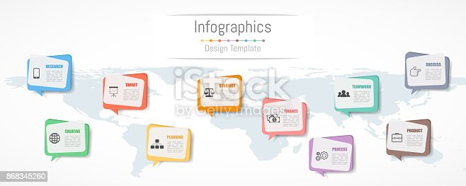 istock Infographic design for your business data with 10 options, parts, steps, timelines or processes.  Communication network concept,  Vector Illustration. World map of this image furnished by NASA 868345260