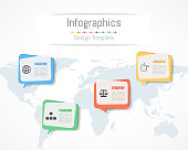 Infographic design for your business data with 4 options, parts, steps, timelines or processes.  Communication network concept,  Vector Illustration. World map of this image furnished by NASA