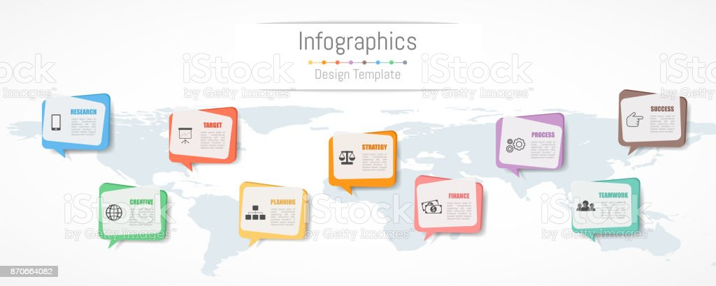 Infographic design for your business data with 9 options, parts, steps, timelines or processes.  Communication network concept,  Vector Illustration. World map of this image furnished by NASA royalty-free infographic design for your business data with 9 options parts steps timelines or processes communication network concept vector illustration world map of this image furnished by nasa stock illustration - download image now
