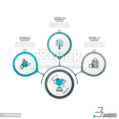 Infographic design layout, 3 round elements and icons in thin line style connected with central element and text boxes. Three steps to success. Vector illustration for presentation, brochure, report.