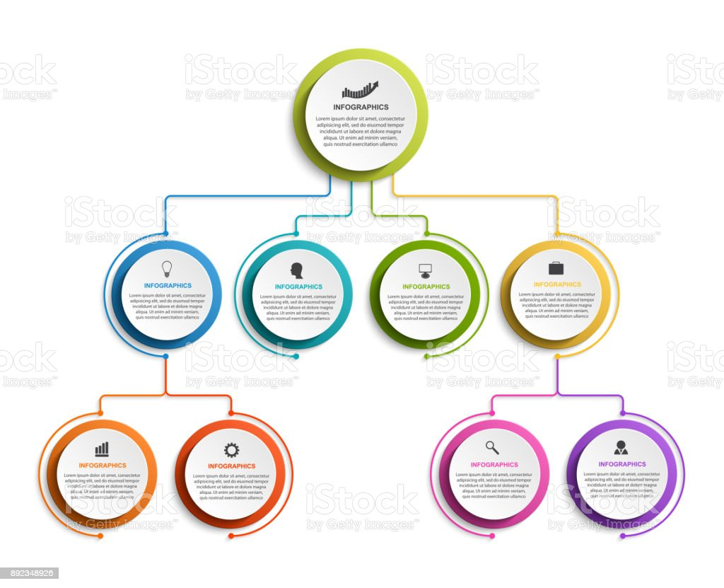 Infographic design organization chart template for business presentations, information banner, timeline or web design vector art illustration