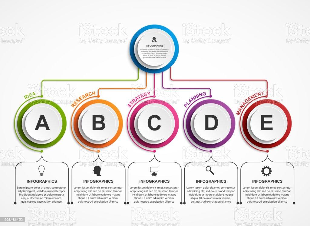 infographic design organization chart template stock