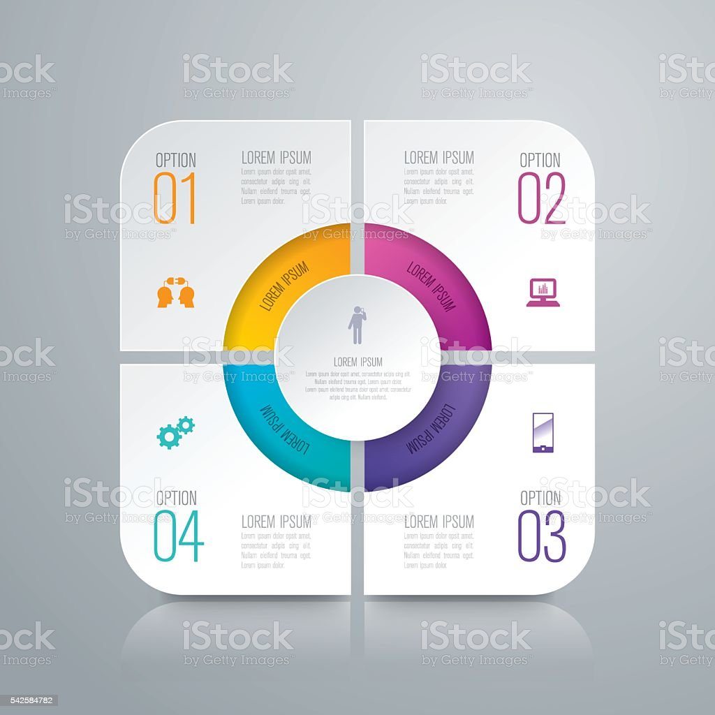 Infographic design template and business icons. vector art illustration