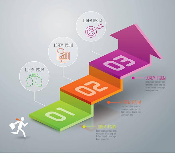 インフォグラフィックのデザインテンプレート用のアイコンおよびマーケティングます。 - ステップ点のイラスト素材/クリップアート素材/マンガ素材/アイコン素材