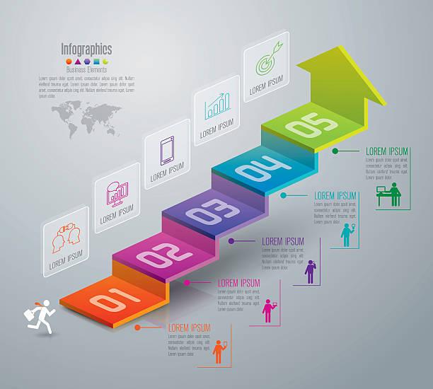 infografik design-vorlage und marketing icons. - treppe stock-grafiken, -clipart, -cartoons und -symbole
