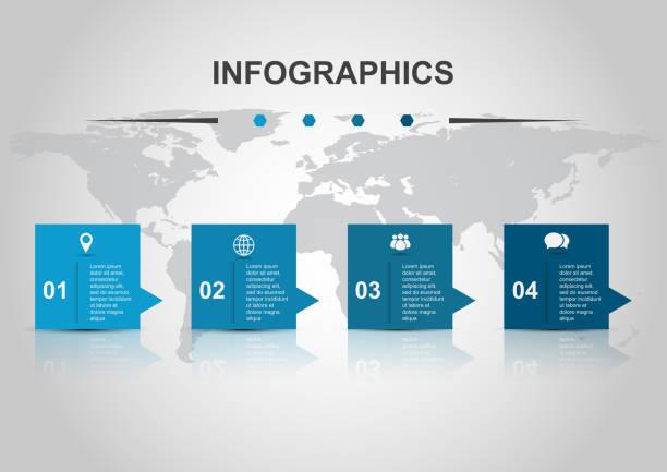illustrations, cliparts, dessins animés et icônes de infographie conception modèle bannières avec reflet - infographie processus