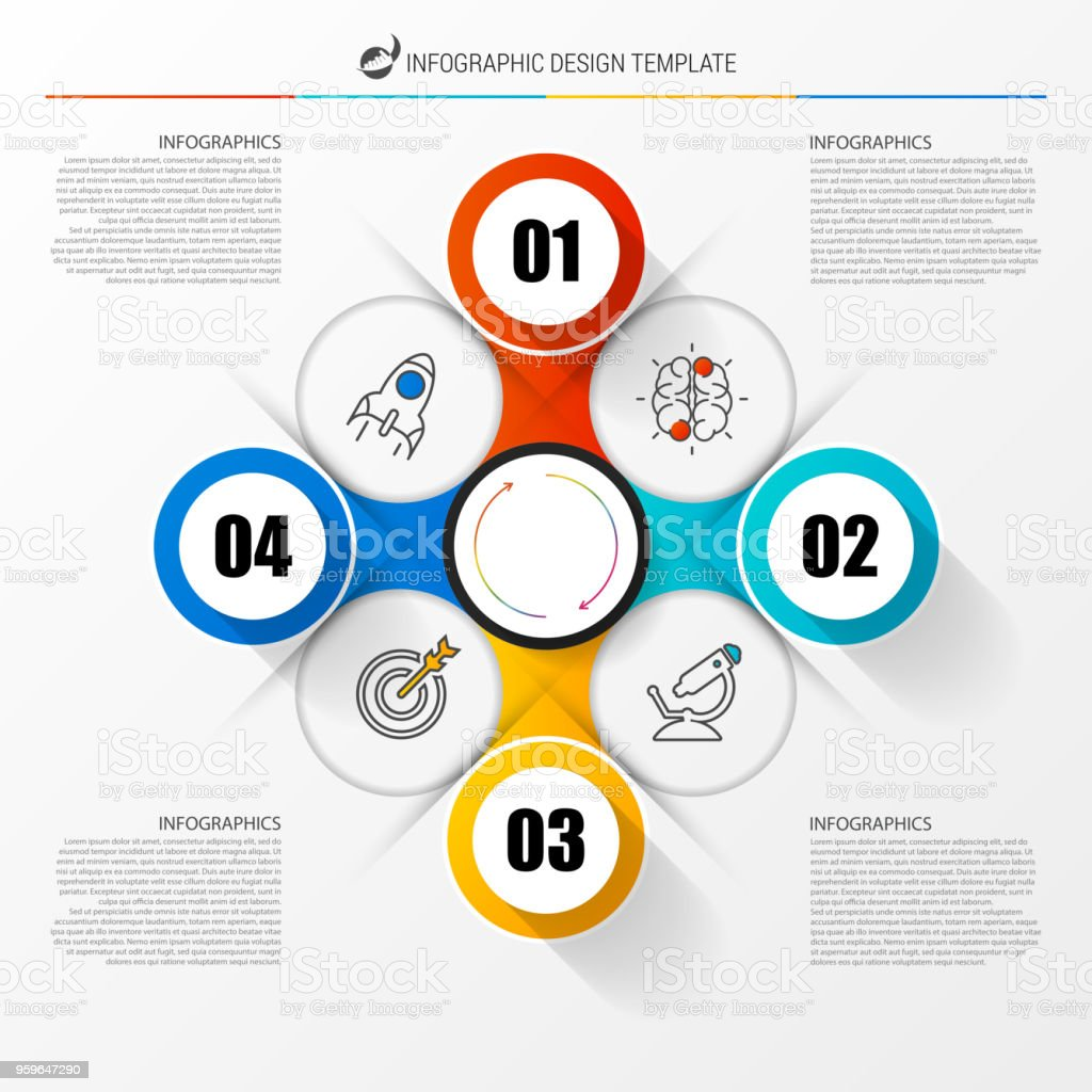 Plantilla de diseño de infografía. Concepto de negocio con 4 pasos - arte vectorial de Abstracto libre de derechos