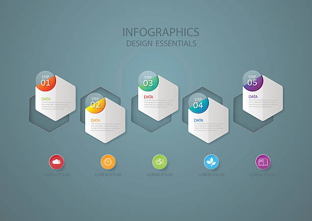 Infographic design template, Business concept with 5 options Infographic design template and marketing icons, Business concept with 5 options five people stock illustrations
