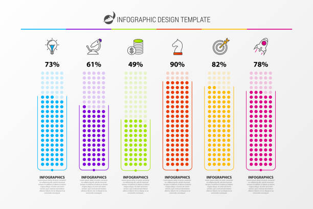 Infographic design template. Business concept with 6 columns vector art illustration