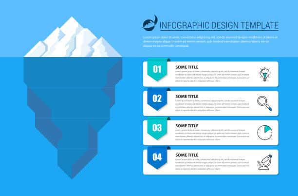 ilustrações de stock, clip art, desenhos animados e ícones de infographic design template. creative concept with 4 steps - iceberg