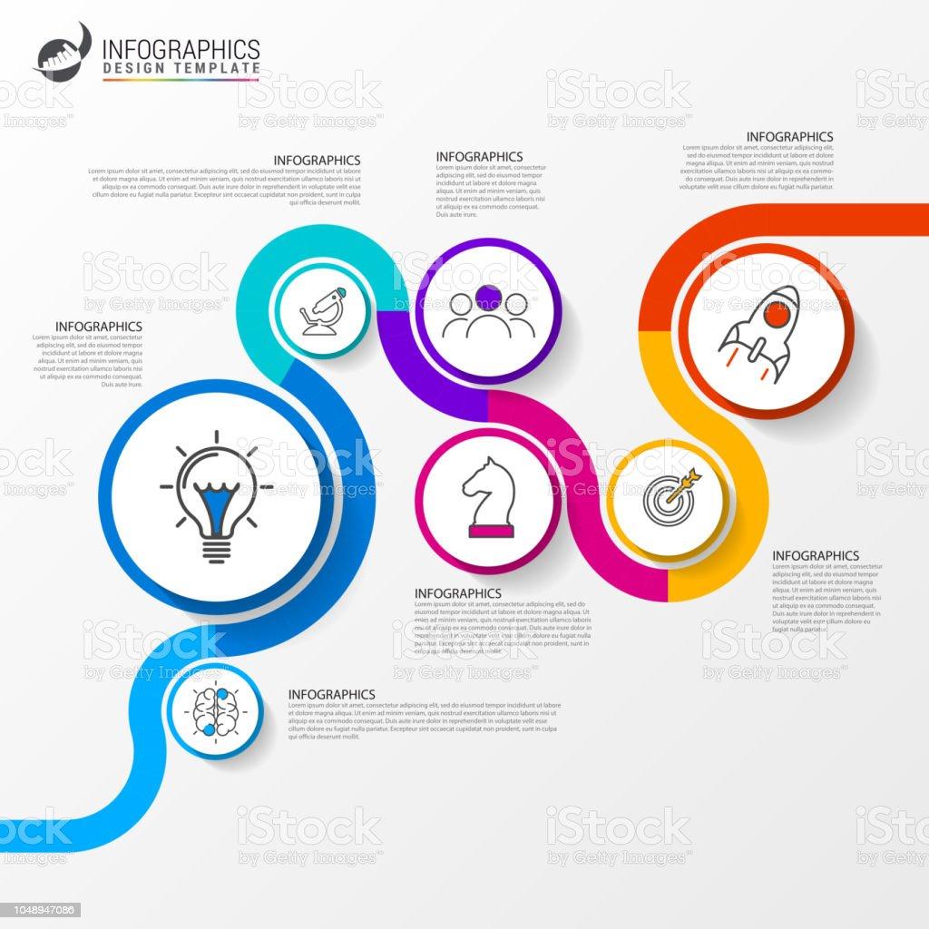 Infografik-Design-Vorlage. Kreatives Konzept mit 7 Stufen - Lizenzfrei Ansicht von oben Vektorgrafik
