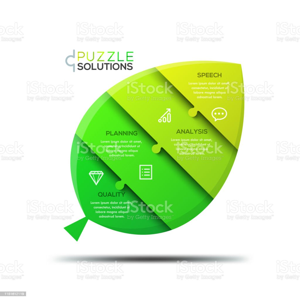 Infographic Design Template Jigsaw Puzzle In Shape Of Green