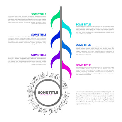 Infographic design template. Music concept with 6 steps