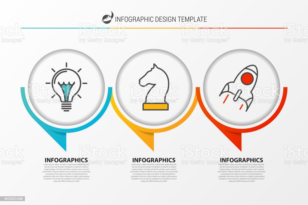 Infographic design template. Organization chart with 3 steps - Grafika wektorowa royalty-free (Abstrakcja)