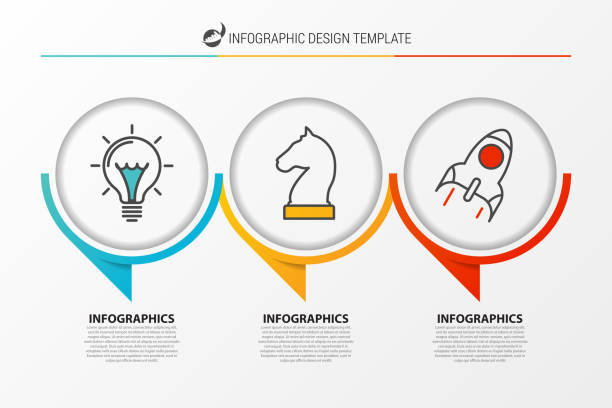 infographic design template. organization chart with 3 steps - three shapes stock illustrations, clip art, cartoons, & icons