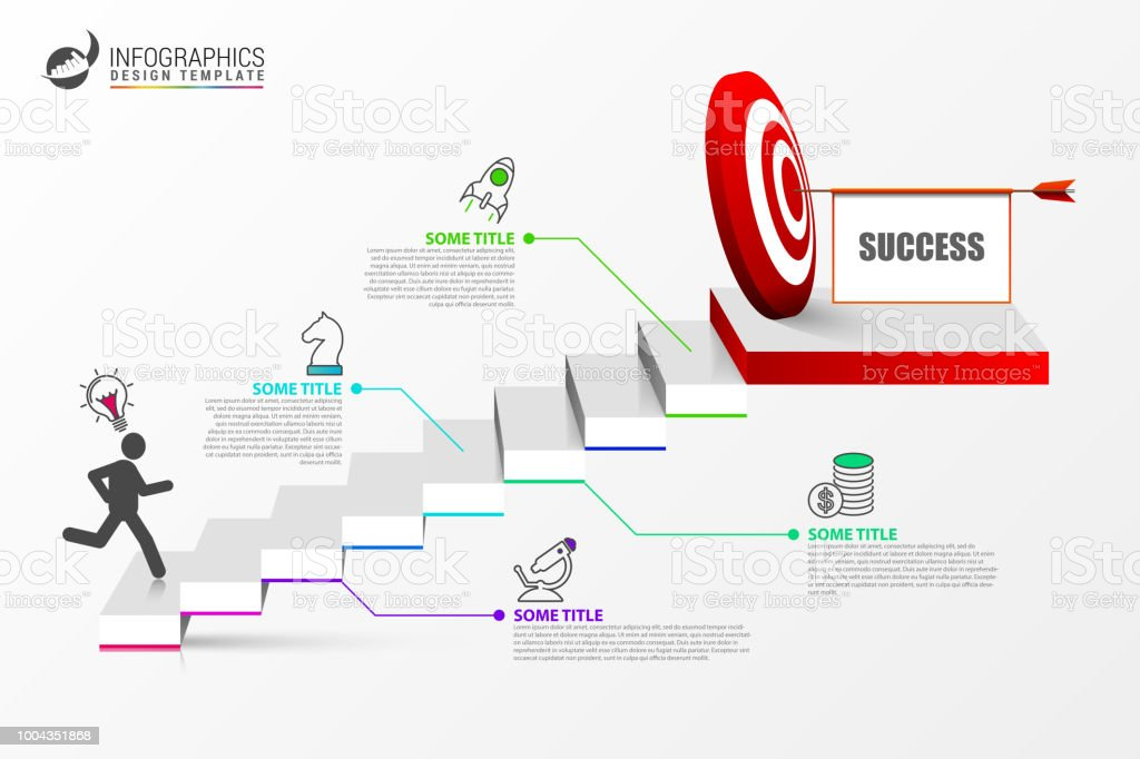infographic design template staircase concept with steps stock