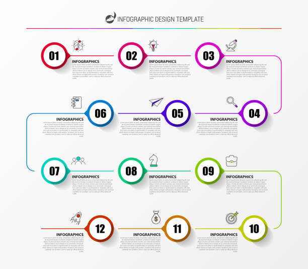 infographic 디자인 서식 파일입니다. 12 단계와 타임 라인 개념 - timeline stock illustrations