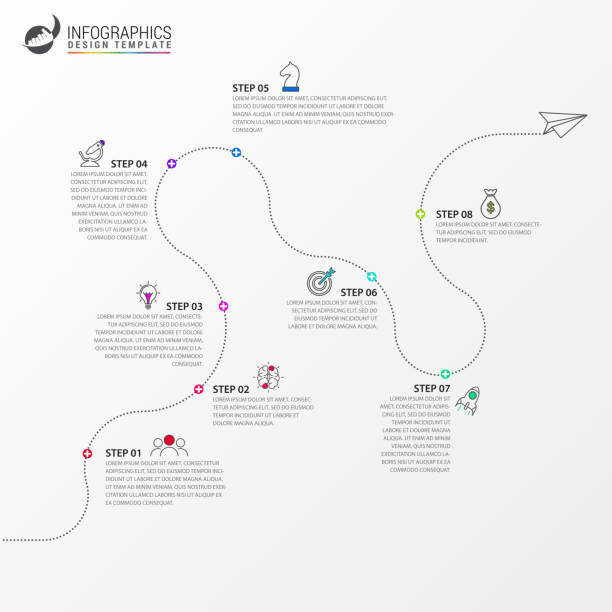 infographic 디자인 서식 파일입니다. 8 단계와 타임 라인 개념 - timeline stock illustrations