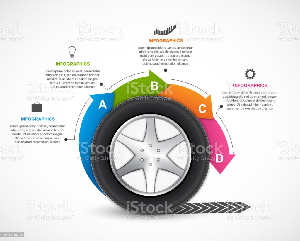 Infographic Design Template. Tire with arrows in a circle for brochures and presentations. vector art illustration