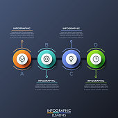 Infographic design template with 4 lettered circular elements connected with line on dark background. Business development strategy concept. Vector illustration for report, web presentation, website.