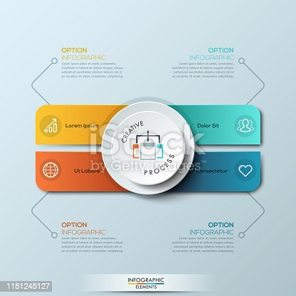 Infographic design template with 4 separate rounded rectangles of different colors and circle. Steps of creative process, teamwork management concept. Vector illustration for report, presentation.