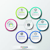 Infographic design template with 6 circular elements connected with center, successful creative process and teamwork management business concept. Vector illustration for website, presentation, ad.