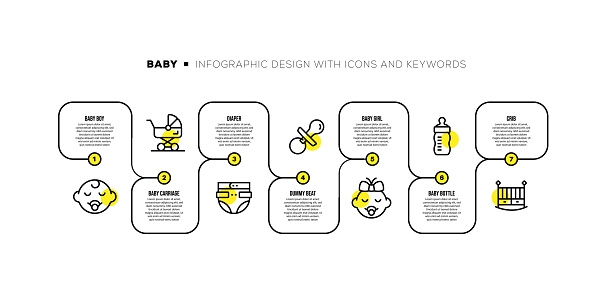 Infographic design template with baby keywords and icons