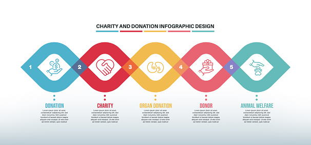Infographic design template with charity and donation keywords and icons